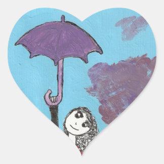 Cantando en las nubes, chica gótico del paraguas pegatina en forma de corazón