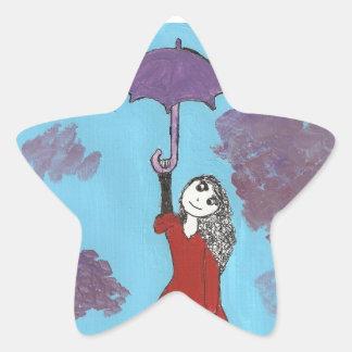 Cantando en las nubes, chica gótico del paraguas pegatina en forma de estrella