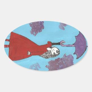 Cantando en las nubes, chica gótico del paraguas pegatina ovalada
