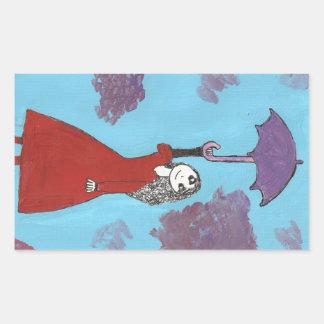 Cantando en las nubes, chica gótico del paraguas pegatina rectangular