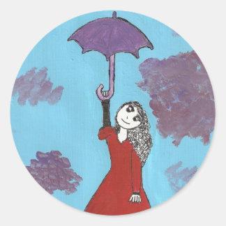 Cantando en las nubes, chica gótico del paraguas pegatina redonda