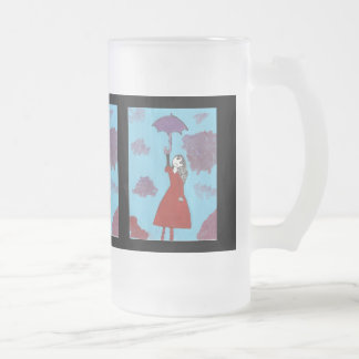 Cantando en las nubes, chica gótico del paraguas taza