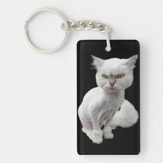 Cantankerous, cute crazy cat 2 keychain