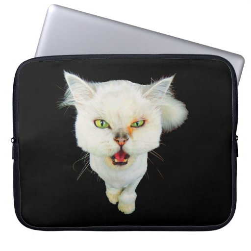 Cantankerous, cute crazy cat computer sleeves