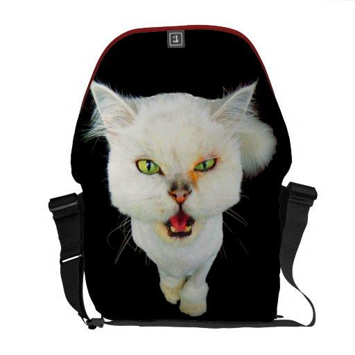 Cantankerous, cute crazy cat courier bag