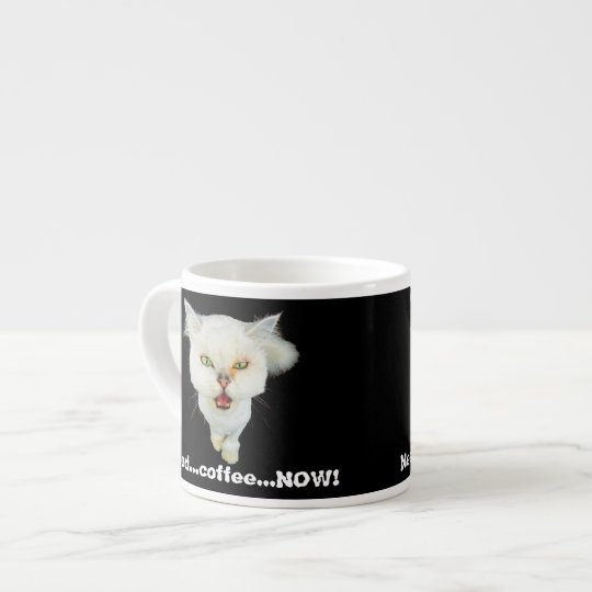 Cantankerous, cute crazy cat espresso cup