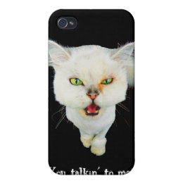 Cantankerous, cute crazy cat iPhone 4 cover