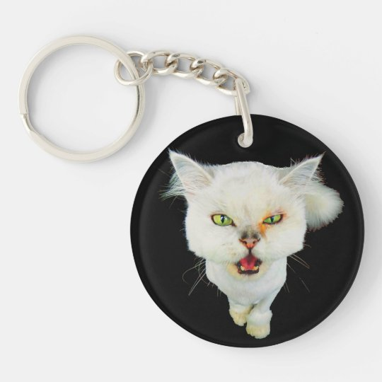 Cantankerous, cute crazy cat keychain