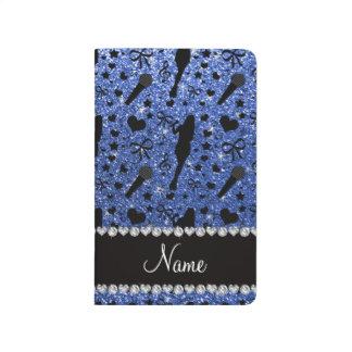 Cantante azul conocido personalizado del brillo cuadernos grapados