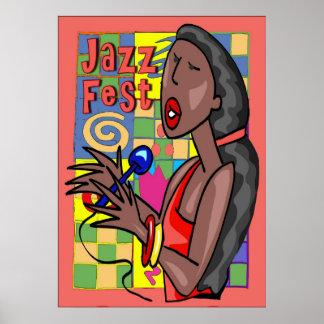 Cantante del Fest del jazz Posters