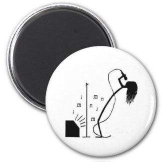 Cantante del palillo imán redondo 5 cm
