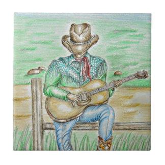Cantante del vaquero azulejo cuadrado pequeño
