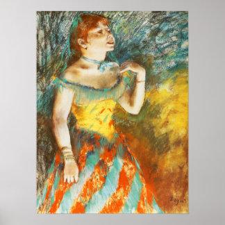 Cantante en verde de Edgar Degas Póster
