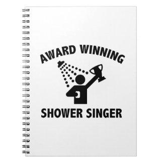Cantante premiado de la ducha libro de apuntes