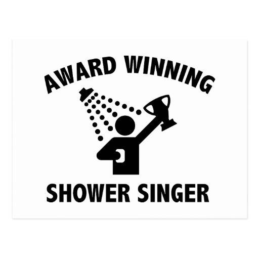 Cantante premiado de la ducha tarjeta postal