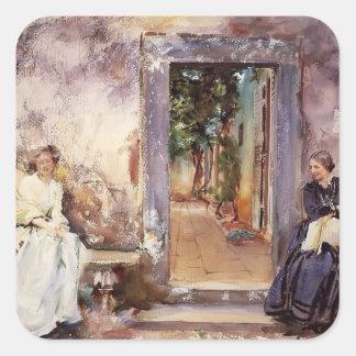 Cantante Sargent- de Juan la pared del jardín Calcomanías Cuadradases