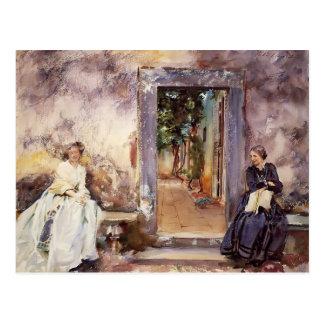 Cantante Sargent- de Juan la pared del jardín Tarjetas Postales