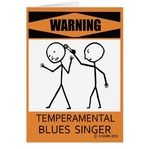 Cantante temperamental amonestador de los azules felicitaciones