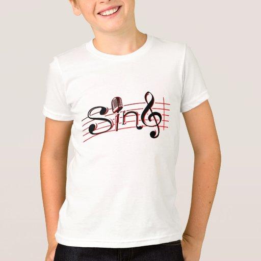Cante a niños retros del mic la camiseta roja y playeras