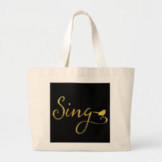 Cante a oro del pájaro de la canción el falso bolsa tela grande