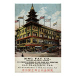 Cante el vintage gordo 1915 de Chinatown San Franc Póster