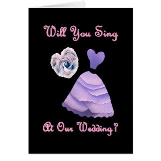Cante en nuestro boda - vestido y corazón PÚRPURAS Tarjetas