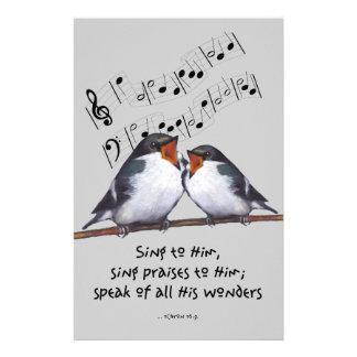 Cante la alabanza a dios: Dos pájaros, notas de la Personalized Stationery