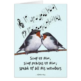 Cante la alabanza a dios Dos pájaros notas de la Felicitaciones