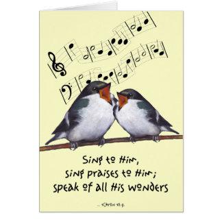 Cante la alabanza a dios Dos pájaros notas de la Tarjeta