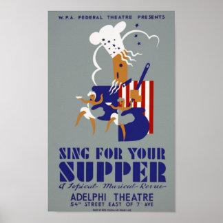Cante para su poster del teatro de WPA del vintage