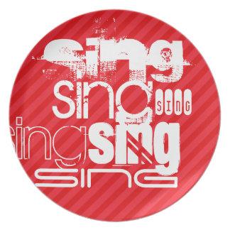 Cante; Rayas del rojo del escarlata Plato De Cena