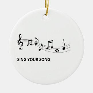 Cante su canción adorno navideño redondo de cerámica