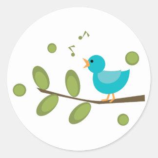 Cante un pájaro de la canción etiqueta redonda
