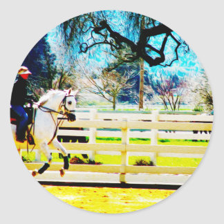 Canter On Classic Round Sticker