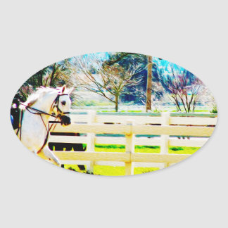 Canter On Oval Sticker