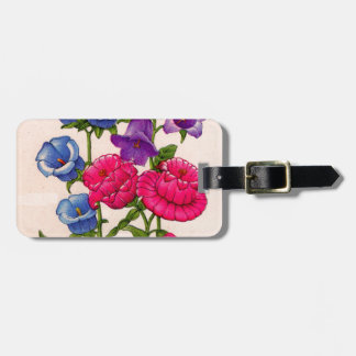 Canterbury bells in blue red and purple tag for luggage