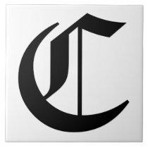 Canterbury Letter C in Black on White Monogram Tile