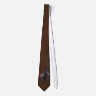 Cantering Black Percheron Horse on Faux Leather Neck Tie