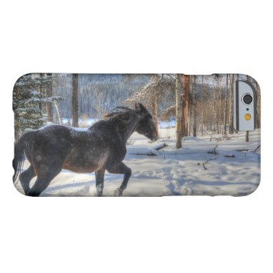 Cantering Black Percheron Horse & Snow Photo 2 Barely There iPhone 6 Case
