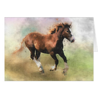 Cantering foal birthday card