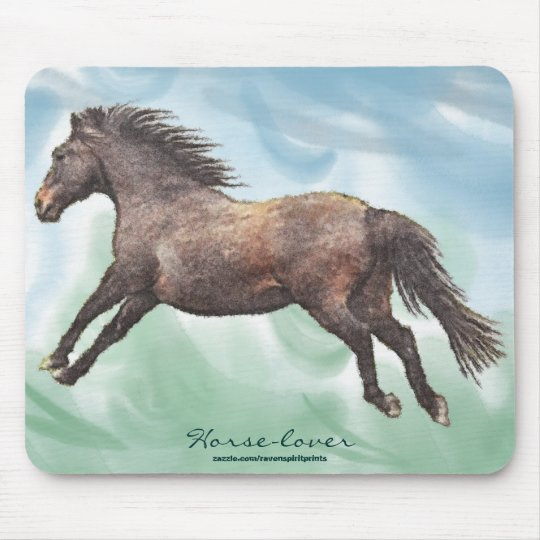 Cantering Horse Horse-lover's Watercolor Mousepad