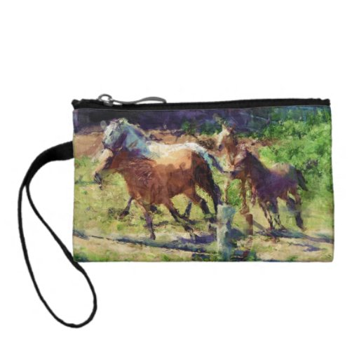 Cantering Mustangs Horse-Herd Equine-lover's Purse Change Purses