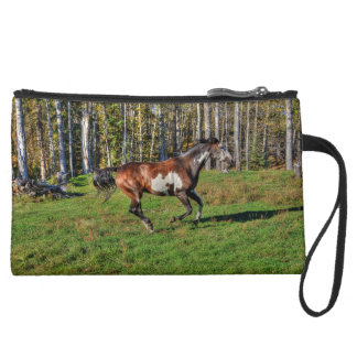 Cantering Paint Stallion & Forest Equine Photo Suede Wristlet Wallet