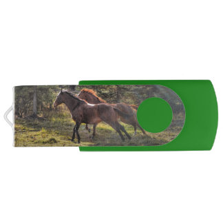 Cantering Ranch Horses Equine Action Photo Swivel USB 2.0 Flash Drive