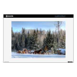 Cantering, Running Horses in Winter Snow Photo Laptop Skins