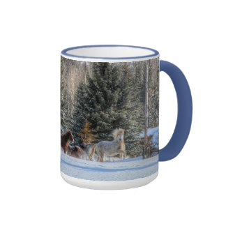 Cantering, Running Horses in Winter Snow Photo Mugs