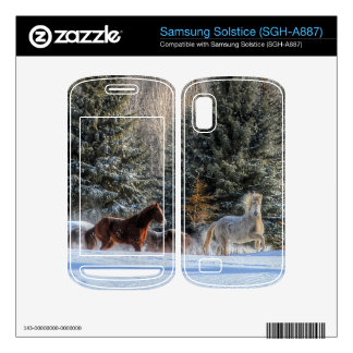 Cantering, Running Horses in Winter Snow Photo Samsung Solstice Decals
