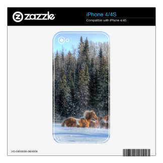 Cantering, Running Horses in Winter Snow Photo Skins For iPhone 4S