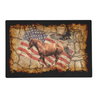 Cantering Western Horse w Bald Eagle and US Flag Placemat
