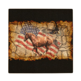 Cantering Western Horse w Bald Eagle and US Flag Wooden Coaster